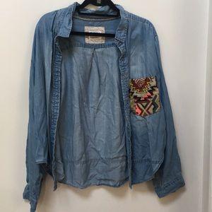Distressed Denim Shirt w/ Aztec Pocket